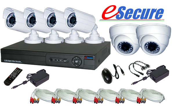 eSecure DIY Retail Package, 8 CH DVR w/ 6 CMOS IR Camera KIT