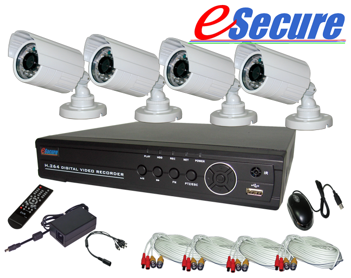 8CH w/EZ Setup Wizard DVR with 4 IR Bullet Cameras Kit