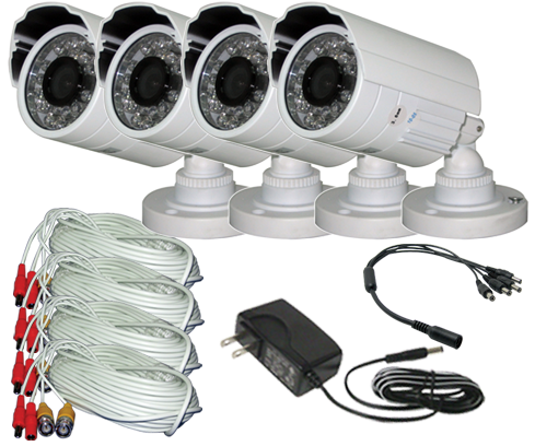 eSecure Indoor/Outdoor 700TVL CMOS, 26 IR Bullet Camera 4-Pack D